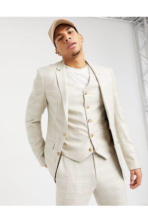 ASOS Summer wedding range super skinny suit jacket in camel with stripe-Beige