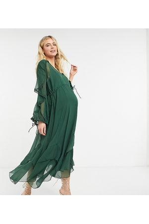 ASOS DESIGN Maternity drape ruffle midi dress with lace insert and tassel detail in burgundy-Multi