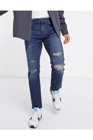 New Look Slim jeans with rips in mid blue