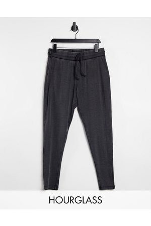 ASOS Hourglass rib leggings in acid wash with tie waist in charcoal-Grey