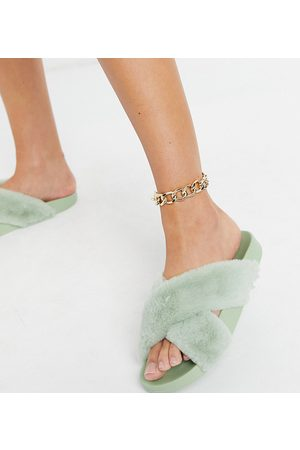 ASOS Wide Fit Fiona fluffy crossover sliders in sage green