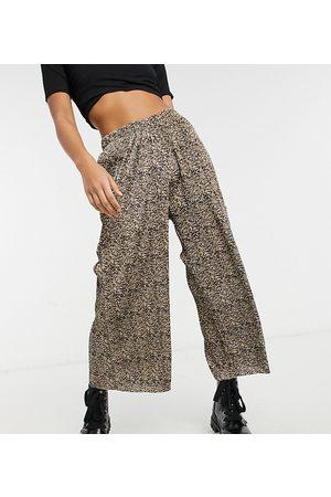 ASOS Women Culottes - ASOS DESIGN Petite plisse culotte pants in animal print-Multi