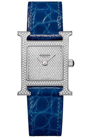Hermès Watches - Heure H 21MM Stainless , Full Diamond Pavé & Alligator Strap Watch
