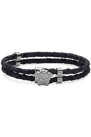 VERSACE Men Bracelets - Medusa Braided Leather Bracelet