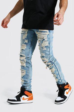 Boohoo Mens Ice Tapered Stacked Leg Shredded Jean