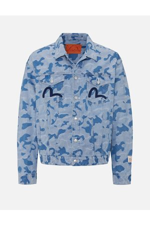 Evisu Men Denim Jackets - Allover Camouflage Jacquard Denim Jacket