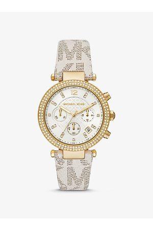 Michael Kors MK Oversized Parker Pavé Gold-Tone and Logo Watch - Vanilla