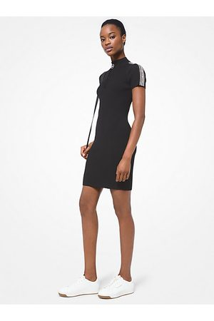 Michael Kors MK Logo Tape Ribbed Stretch Viscose Half-Zip Dress - - Michael Kors