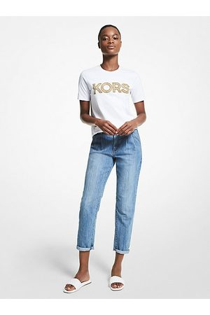 Michael Kors MK Studded Logo Organic Cotton T-Shirt - - Michael Kors