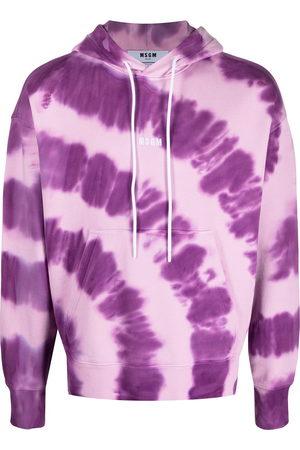 Msgm Men Hoodies - Logo-print tie-dye hoodie