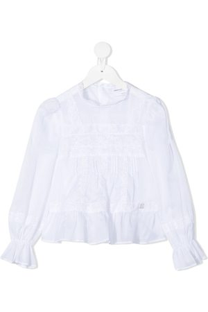 ERMANNO SCERVINO JUNIOR Girls Blouses - Lace-detailed draped-sleeved blouse