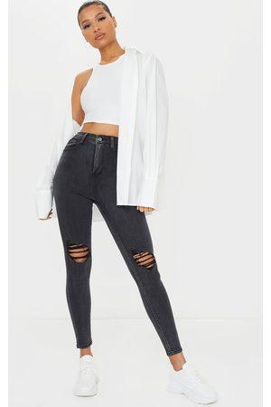PrettyLittleThing Skinny - Washed Knee Rip 5 Pocket Skinny Jean