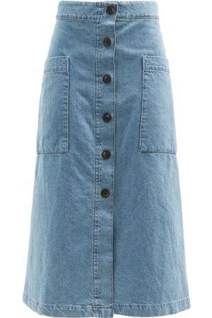 Raey Women Denim Skirts - Patch-pocket A-line Denim Skirt - Womens