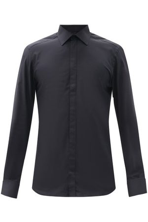 Dolce & Gabbana Concealed-button Cotton-poplin Shirt - Mens - Dark Navy