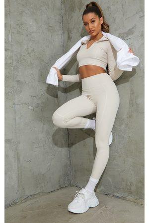 PrettyLittleThing Pants - Oatmeal Sculpt Luxe Detailed Leggings