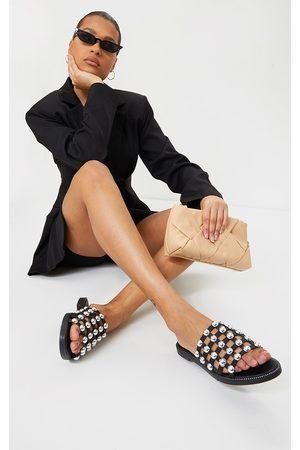 PRETTYLITTLETHING Women Sandals - Alisa Large Studded Slides
