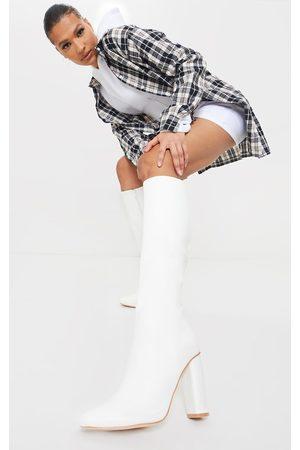 PRETTYLITTLETHING Knee High Boots - Round Block Heel Knee High Boots