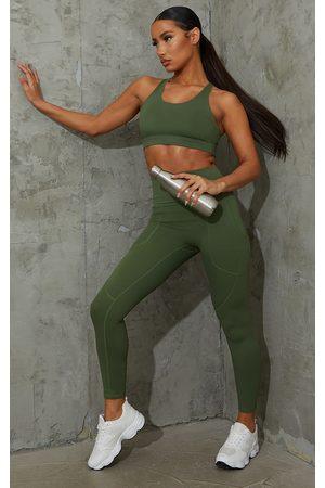 PRETTYLITTLETHING Khaki Sculpt Luxe Pocket Gym Legging