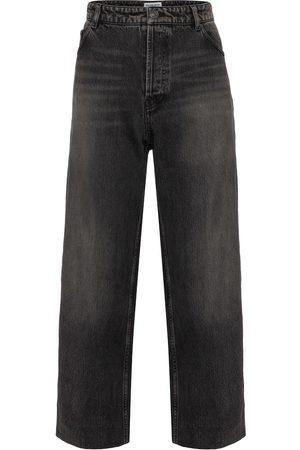 Balenciaga Women Boyfriend - High-rise wide-leg organic cotton jeans
