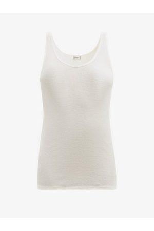 Saint Laurent Scoop-neck Ribbed Modal-blend Tank Top - Womens