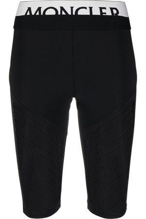 Moncler Women Shorts - Logo waistband perforated cycling shorts