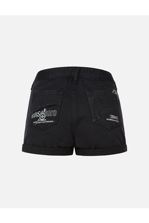Evisu Women Shorts - Embossed Seagull High Waist Denim Shorts
