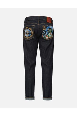 Evisu Men Jeans - Fujin and Kamon Embroidered Carrot Fit Jeans #2017