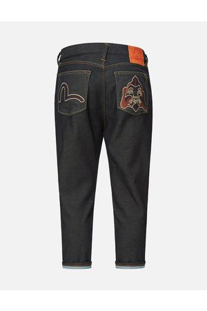 Evisu Men Jeans - Seagull and Godhead Embroidered Cropped Jeans #2027