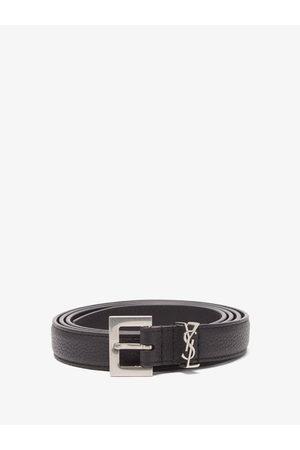 Saint Laurent Ysl-plaque Grained-leather Belt - Mens