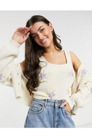 Y.A.S Knitted top twinset with lilac floral embroidery in cream