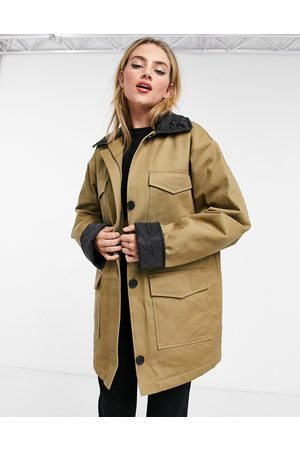 ASOS Quilted collared shacket in stone