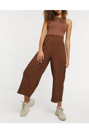 ASOS Textured shirred waist culotte pants in brown