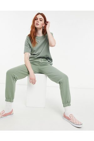 Only Cuffed trackies with drawstring waist in green