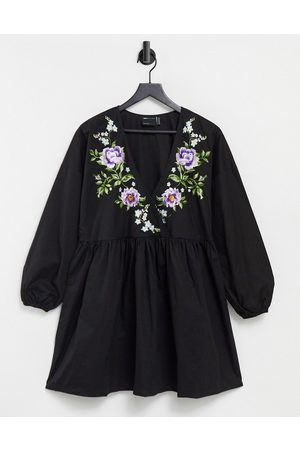 ASOS Cotton poplin wrap front mini dress with embroidery in black
