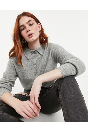 Only Knitted polo jumper in light grey