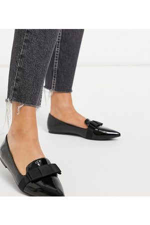 ASOS Wide Fit Luan bow pointed ballet flats in black patent