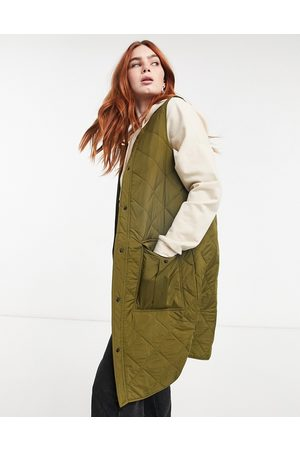 JDY Quilted longline vest with pockets in khaki-Green