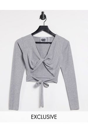 Reclaimed Vintage Inspired twist front wrap top in grey marle