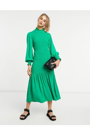 Ghost Dinah shirred dress in green