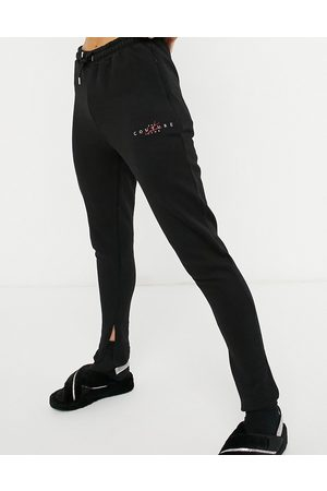 The Couture Club Archive logo high waisted trackies in beige-Black