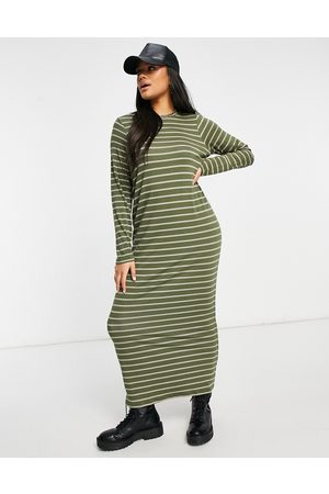 ASOS Long sleeve maxi t-shirt dress in khaki and camel stripe-Green