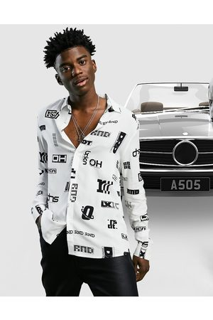 ASOS Regular shirt in text all over monochrome print-White