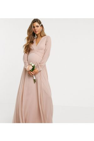 ASOS ASOS DESIGN Maternity Bridesmaid ruched waist maxi dress with long sleeves and pleat skirt in blush-Pink