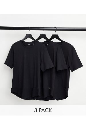 Only & Sons 3 pack longline curved hem t-shirt in black