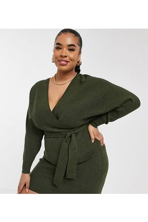 Outrageous Fortune Knitted wrap detail pencil dress with belt detail in khaki-Green