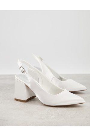 ASOS Sammy slingback mid heels in ivory-Cream