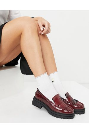 ASOS Melon chunky loafers in burgundy-Red