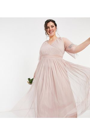 ANAYA Anaya With Love Plus Bridesmaid tulle flutter sleeve maxi dress in pink