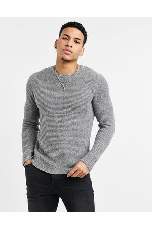 Only & Sons Textured crew neck jumper in grey