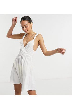 ASOS ASOS DESIGN tall recycled knot strap mini beach dress in white